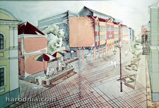 Гродна. Праект 1988 года. Закрыты ўнівермаг і летняе кафэ на месцы будынка АВС